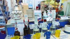 Medical and laboratory equipment at the exhibition - stock footage