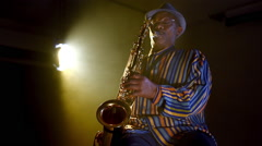 African American Jazz Musician Blues Club Performer  - stock footage
