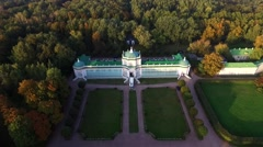 Flying Over the Alley and the Park of the Museum-Estate Kuskovo in Moscow Stock Footage