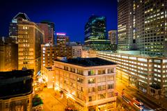 View of buildings in downtown at night, in Baltimore, Maryland. Stock Photos