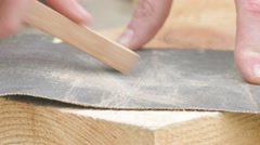 Polishing of wooden plank Stock Footage