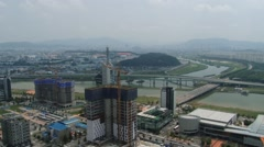 View to the city of Daejeon and Daejeon Expo in Daegeon, Korea. Stock Footage