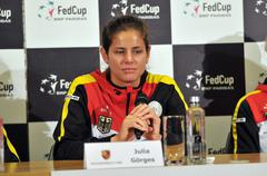 Tennis player Julia Gorges during a press conference - stock photo