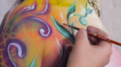 Bright and colorful bodyart Stock Footage
