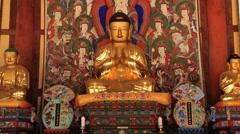 Buddha statue in the Buddhist temple in Haeinsa monastery, Haeinsa, Korea. Stock Footage