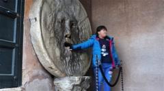 Bocca della Verita in Roma, Italy Stock Footage