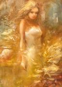 Female , handmade painting Stock Illustration