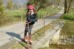 preteen in roller skate - stock photo