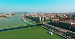 Hungary. Liberty Bridge Pest. Budapest bird eye view. Danube river. - stock footage