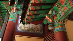 Colorful decoration of Haeinsa temple building in Haeinsa, Korea. Stock Footage