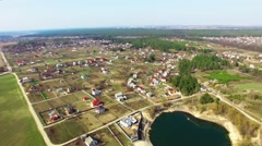 Flew Over the Village and the Lake Stock Footage