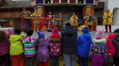 Happy holiday maslenitsa in the Izmailovo Kremlin in Moscow Stock Footage