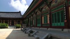 Tourists visit Haeinsa temple in Haeinsa, Korea. Stock Footage