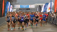 A lot of runners at the start of the marathon. Stock Footage