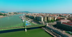 Hungary. Budapest. Flying down Liberty Bridge Buda and Pest. Danube river. - stock footage