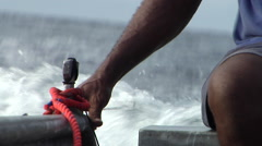 Indigenous fisherman trolling for pelagics in a tinny, HD, UP27640 - stock footage