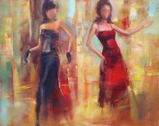 Female figures handmade painting - stock illustration