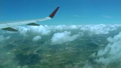 Aerial, airplane flies on Loei province, Thailand Stock Footage