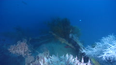 Ocean scenery deck level of WW2 freighter, on wreckage, HD, UP26896 - stock footage