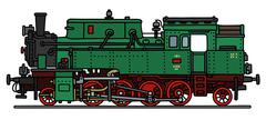 Classic green steam locomotive - stock illustration