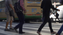 People crossing the street in downtown Buenos Aires series 4 Stock Footage