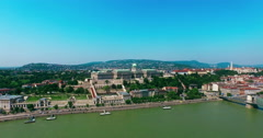 Budapest. Buda and Pest aerial view 360 degrees panoramic motion camera. - stock footage