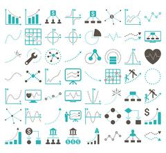 Business Charts With Rhombus Dots Vector Icons - stock illustration
