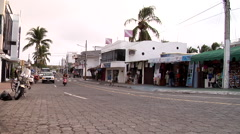 Puerto Ayora, main street, Av Charles Darwin, taxis driving past, HD, UP26454 Stock Footage