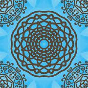 Seamless indian pattern on blue texture. Abstract vector tribal ethnic yoga Stock Illustration