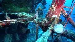 Ocean scenery light bulb and rigging, on wreckage, HD, UP26984 - stock footage