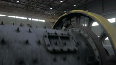 A ball Mill inside of a copper processing industry Stock Footage