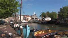 Boats on De Kolk canal Stock Footage