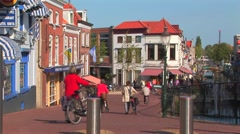 Busy traditional Dutch street Stock Footage