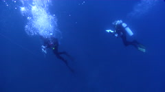 Scientific diver making a safety stop in bluewater, HD, UP26589 Stock Footage