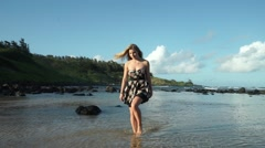 Beautiful Hawaiian Model Walks Barefoot out of Ocean onto Beach in Paradise Stock Footage