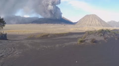 view of the active volcano Bromo Java island, Indonesia - stock footage