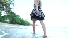 Beautiful Hawaiian Girl Model Walks Barefoot Down Beach in Tropical Paradise Stock Footage