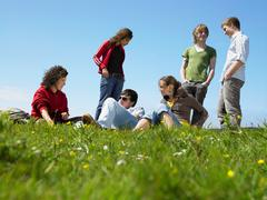 Group of young people relaxing - stock photo