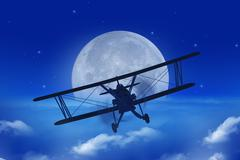 Full Moon Airplane Getaway Abstract Illustration. Flying Vintage Airplane - stock illustration