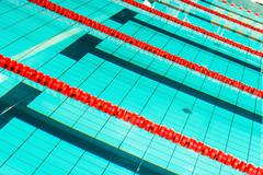 Swimming Pool Lanes Closeup Photo. Swimming and Recreation Concept. - stock photo