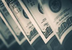 United States of America Dollars. Cash Money. One Hundred Dollars Bills. - stock photo