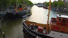 Tugs on De Kolk canal Stock Footage