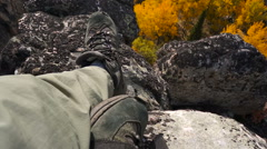 Rise Above the Rocks Autumn, Sunny Day With a Bird's-Eye View Stock Footage