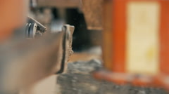 Cutting wood in a sawmill - stock footage