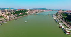 Budapest. Buda and Pest aerial view moving forward camera to Chain Bridge. - stock footage