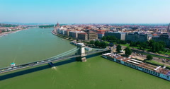 Budapest. Side motion from Buda to Pest aerial view moving right camera. - stock footage