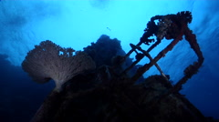 Ocean scenery vertical wreck, on water surface, HD, UP27747 - stock footage