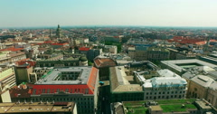 Budapest. Pest aerial view moving up camera. Big Wheel. St. Stephen's Basilica. - stock footage