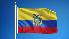 Ecuador flag in slow motion seamlessly looped with alpha Stock Footage