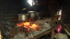 Cooking fire in village kitchen, HD, UP18889 Stock Footage